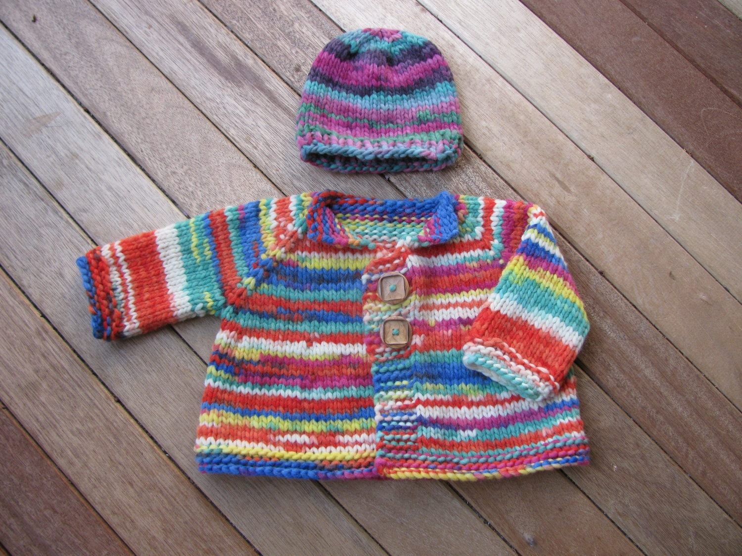 Knitting Pattern Jacket Chunky : Knitting Pattern for Chunky Top Down Baby Jacket Hat PDF