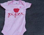 custom hand printed name (or message) onesie with graphic
