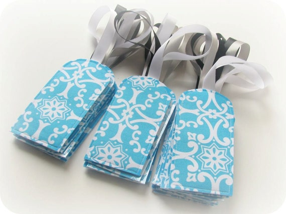 20 Custom Luggage Tags - Favors for your Bridal Shower, Baby Shower, Bridesmaids or Guest - You Choose The Fabric