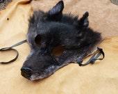 Wolf mask headdress - Real black wolf  fur totem mask headdress for shamanic ritual, costume, totemic dance and more