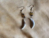 Real red fox canine tooth fang, amber, and wood bead earrings