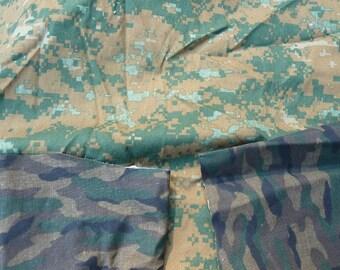 Camouflage fabric - lot of three camo pieces DESTASH