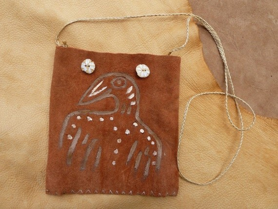 Bird Spirit Neotribal suede leather hand painted pouch with bone beads
