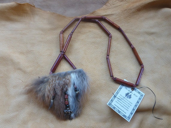 Fox necklace - fox fur pendant with real red fox claws and pendant and stone and vintage wood beads