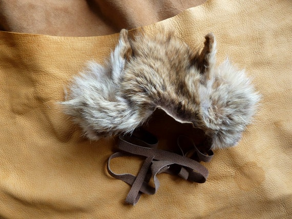 Coyote ears headdress - real coyote fur ears with leather straps for costume and totemic dance upcycled CE3