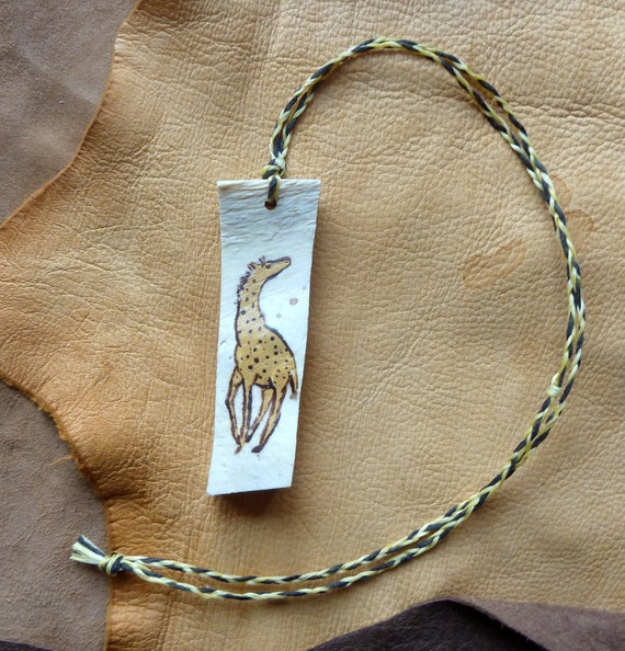 Real African giraffe bone necklace with painted acrylic giraffe on hand-braided cord pendant