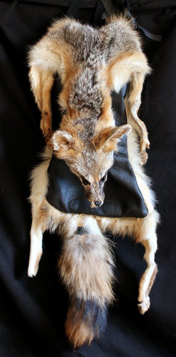 Whole hide vintage gray fox fur and black deerskin shaman's pouch bag with paws and claws medicine ritual tools