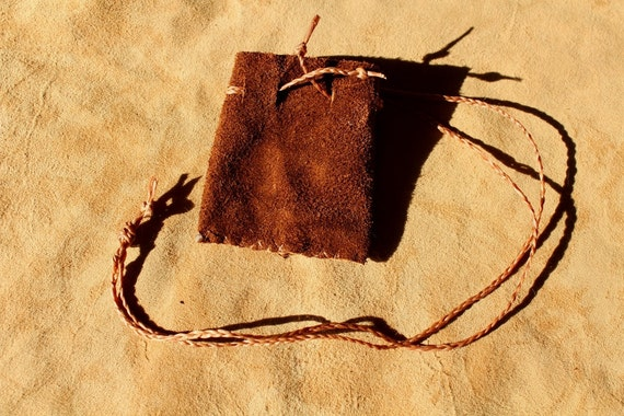 Rust colored suede leather plain necklace pouch for crystals, herbs, medicine and other small sacred things