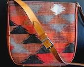 Carpet Bag Upcycled Wool Purse Leather Trim Orange Red Black