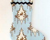 Blue Bunny Rabbit Christmas Stocking with Brown Lining
