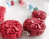 Bright Red Cinnabar And Colorful Glass Chips Necklace