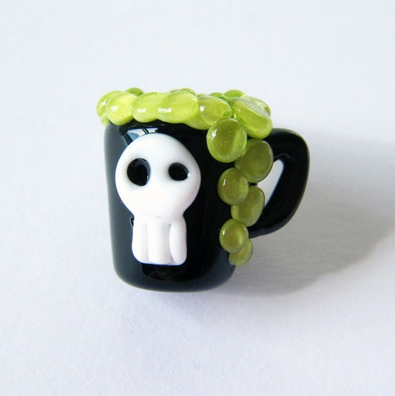 Pick Your Poison Skull Black N Green Lampwork Bead by keiara SRA