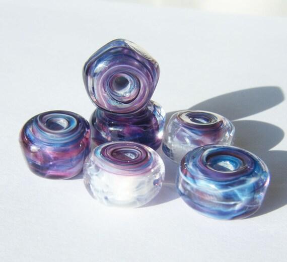 Lampwork Bead Set Tidal Organic Swirl Gem Beads by keiara SRA