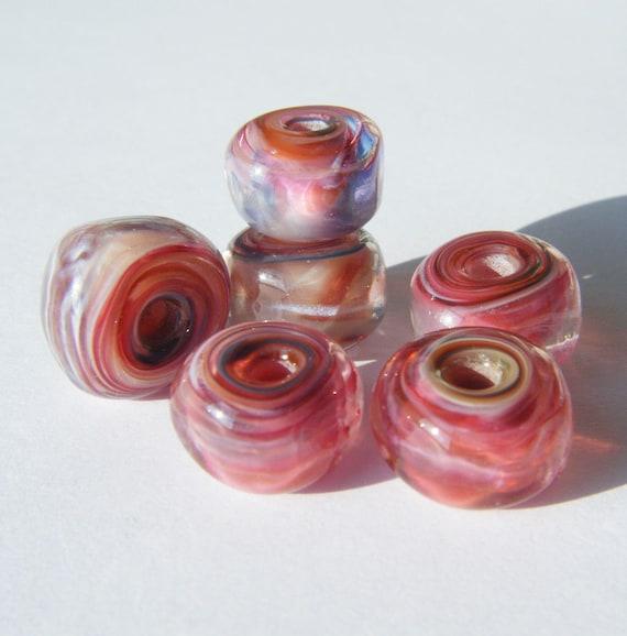 Lampwork Bead Set Gypsy Organic Swirl Gem Beads by keiara SRA