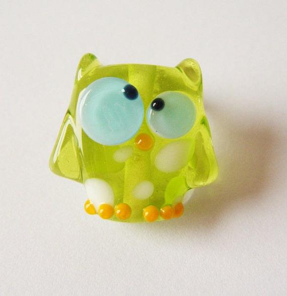 Lampwork Owl Bead Lime Kooky Owl by keiara SRA FREE SHIPPING