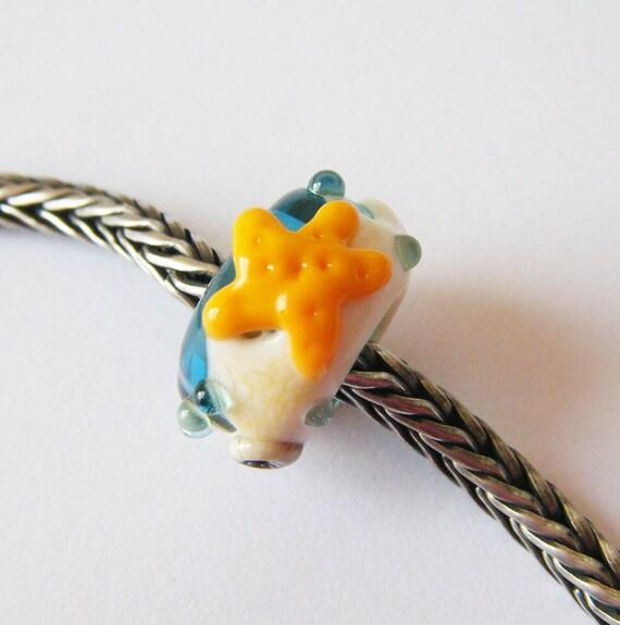 Starfish Lampwork Big Hole Bead bhb Dread/Troll/Pandora Bead by keiara SRA FREE SHIPPING