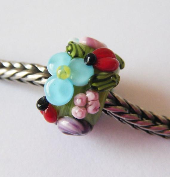 Ladybug Garden Lampwork Big Hole Bead bhb Dread/Troll/Pandora Bead by keiara SRA FREE SHIPPING