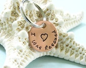 Pet Rescue Tag - I Was Rescued - Hand Stamped - Copper Petite