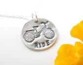 Silver Bike Necklace - Bike Pendant - Fine Silver Necklace - Fine Silver Pendant - Ride - Ready to Ship - Dainty Necklace