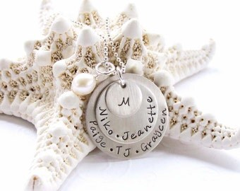 Layered Family Necklace - Personalized Jewelry - Customized - Hand Stamped - Triple Layer - Sterling Silver - Hand Made