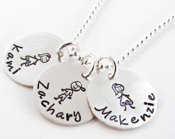 Hand Stamped Stick Family Necklace, Sterling Silver - Personalized Jewelry