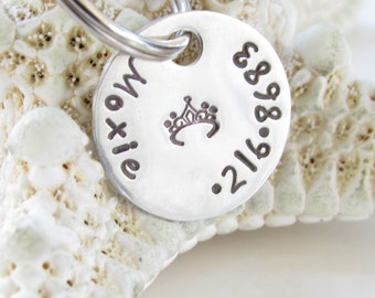 Pet Tag Custom -  Hand Stamped - Petite Sterling Silver -- Handmade