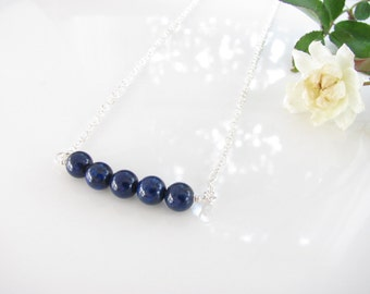 Blue Lapis Gemstone Necklace - Sterling Silver and Lapis