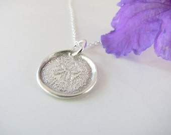 Sand Dollar Pendant Necklace - Simple Stamped on Fine Silver - Made to Order