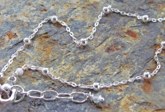 Sterling Silver Anklet with Extender Chain and Gemstone