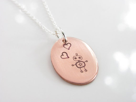 Robot Love Necklace - Copper Hand Stamped on Sterling Silver Chain