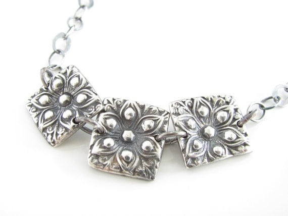 Floral Squares Necklace - Hand Made from Fine Silver with Sterling and Black Spinel Gemstones