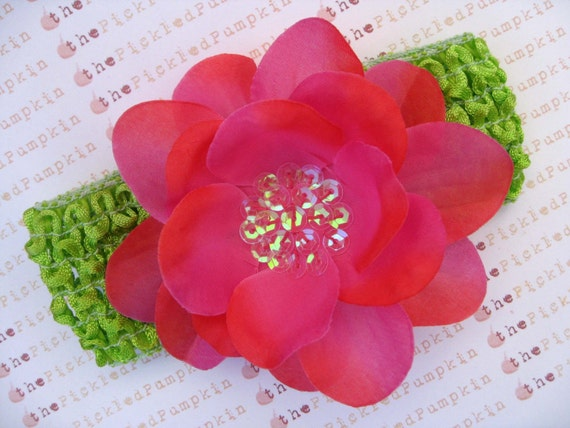 CLEARANCE Azalea Sequin flower and Lime Green crochet headband