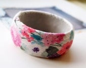 Cottage chic Pink and purple flower- Repurposed fabric covered bangle - Spring Collection 2012
