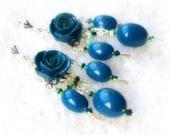 Teal roses chandelier earrings - Long earrings - Flower jewelry - Summer trends