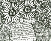 Psychedelic Owl ACEO Illustration Black White Original OOAK
