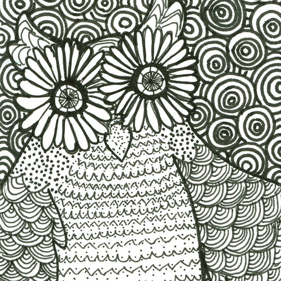 Psychedelic Owl ACEO Print Illustration Black White