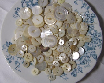 Mixed Lot Vintage Mother-Of Pearl and Shell Buttons Tied Up in Handkerchief-Tussy Mussie