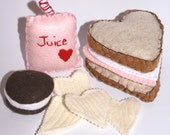NEW Special Heart Marshmellow Fluff and Strawberry Jam Wheat Sandwich Potato Chips Cherry Juice and Chocolate Cream Cookie Eco Felt Play Food