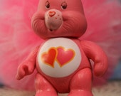 "Vintage Care Bears Love-a-lot 1982 PVC poseable figure 3"" pink hearts"