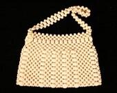 WHITE Wood beaded bag hippie purse pocketbook handbag 60s 70s Boho