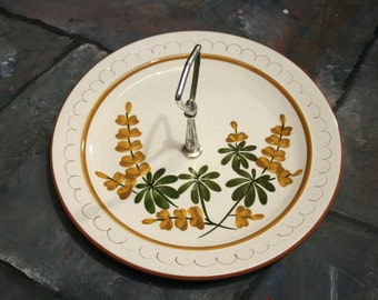 Stangl Pottery Retro Handled serving Tidbit Plate Golden Blossom hand painted