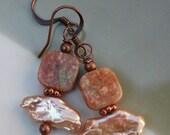 Autumn Jasper and Pearl Earrings