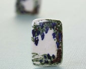 Vintage Ceramic Tile Screw On Earrings