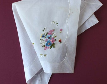 Elegant Vintage Desco Handkerchief with Pansy Bouquet