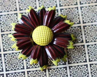 Brown and Yellow Enamel Sunflower Costume Jewelry Brooch Pin