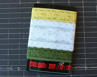 Trio of Vintage Lace in Canary Yellow, Bright White and Olive Green
