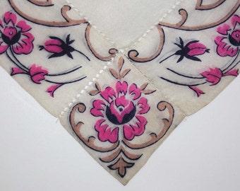 Elegant Vintage Silk Handkerchief with Floral Decoration