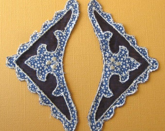 Dark Blue and White Triangular Applique Pieces for Pockets, Sleeves, Collar