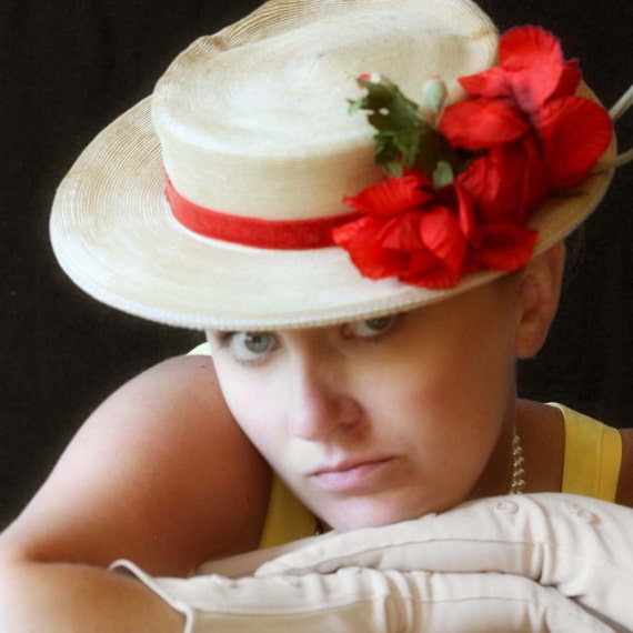 Vintage Straw Hat with Bright Red Flowers