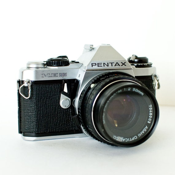Pentax ME Super SLR 35mm camera with 50mm f2 lens and UV filter